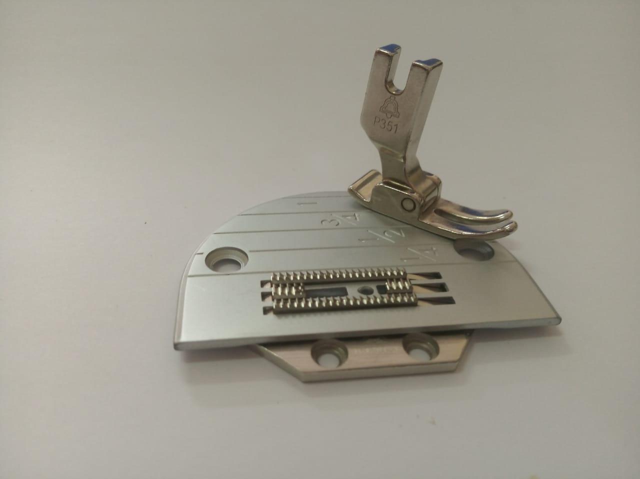 Conjunto Reta, Chapa Dente e Calcador 4 Carreiras Eletrônica