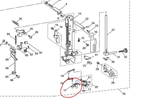 Enfiador de linha na agulha XD1550351 PE770 Brother