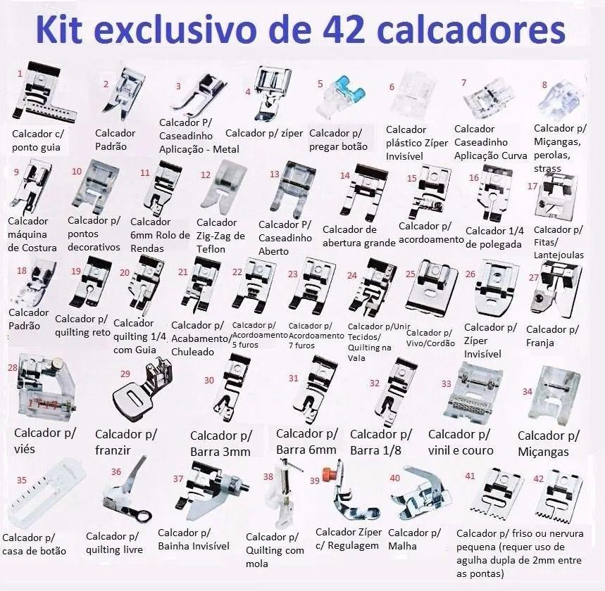 Kit com 42 Pés Calcadores / Sapatas para Máquina de Costura Doméstica - Super Kit com 42 peças