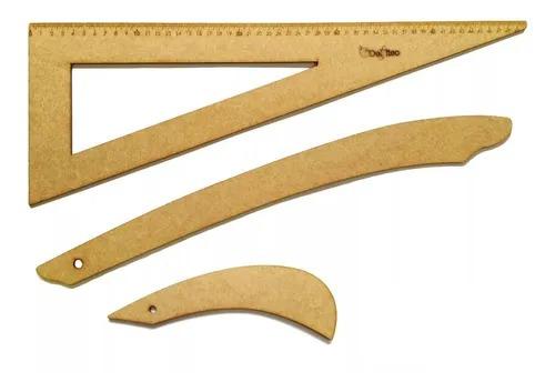 Kit conjunto de régua para costura em Madeira MDF