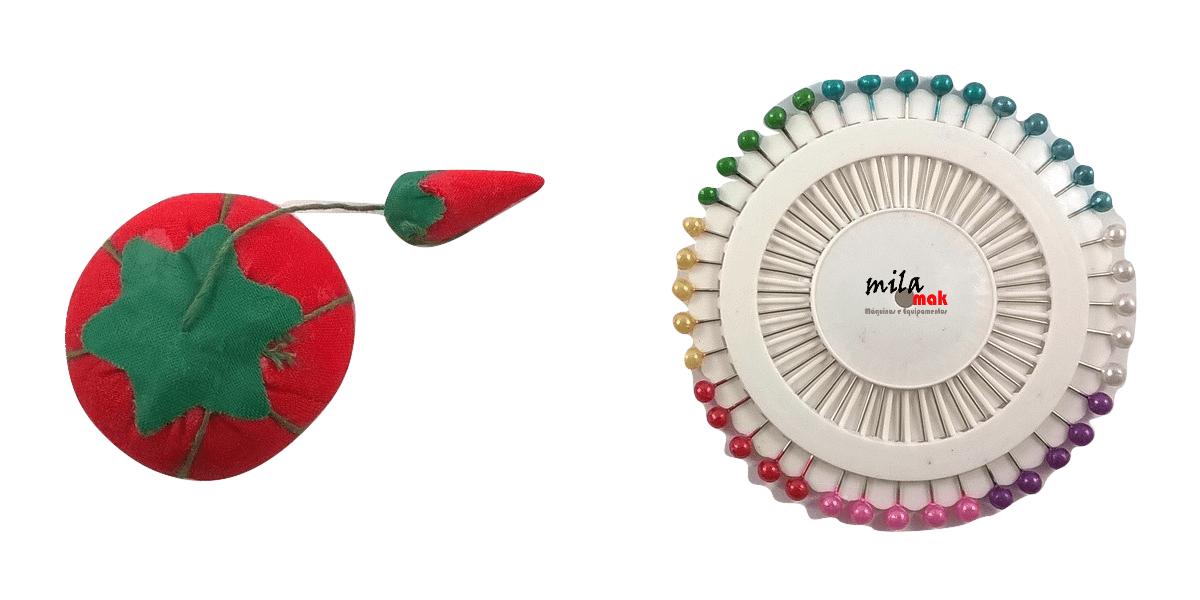 Kit de Costura - 40 alfinetes e almofada Tomatinho