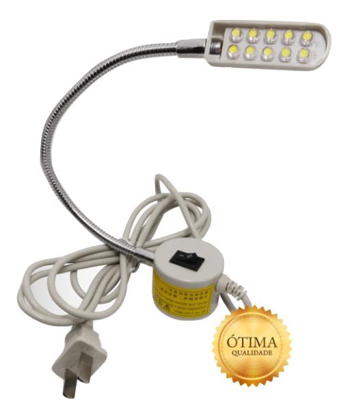 Luminária 10 Leds - Haste flexível, Imã e plug de ligação - Bivolt
