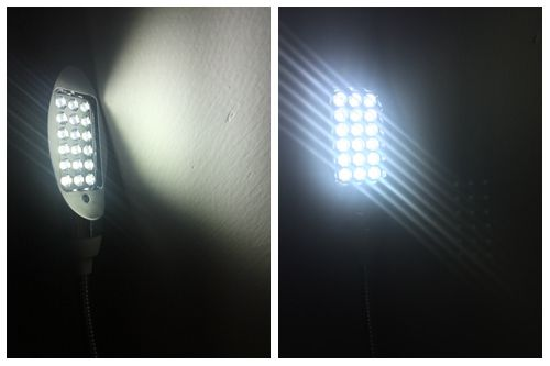 Luminária com 18 Leds, haste flexível, imã na base e chave de ligação
