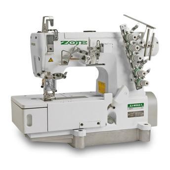 Máquina de Costura Galoneira Industrial ZOJE, base plana 3 agulhas com trançador
