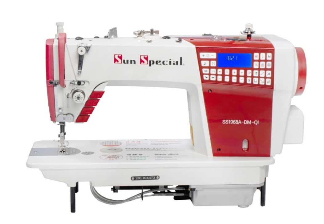 Máquina de Costura Industrial Reta Eletrônica SUN SPECIAL SS-1968-A-DM-QI com 3 Motores e 9 Pontos Decorativos