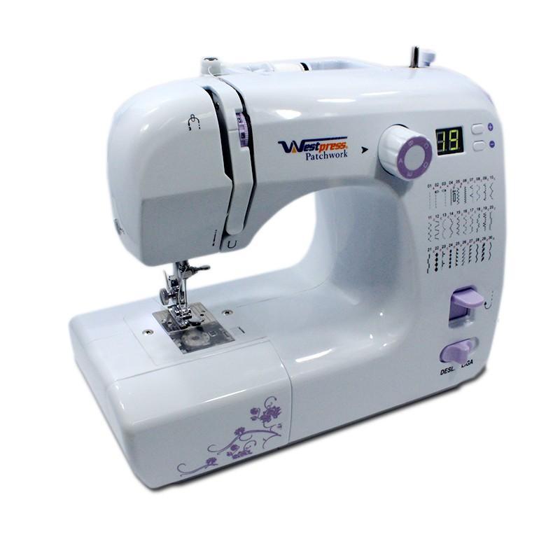 Máquina de Costura Portátil, Bivolt com 30 Pontos e Painel eletrônico - Costura Reta e Zig Zag - Westpress