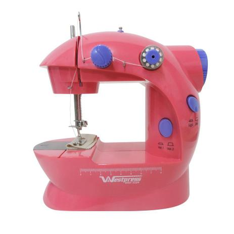 Máquina de Costura Reta Portátil, Rosa Pink Bivolt com pedal Westpress West222