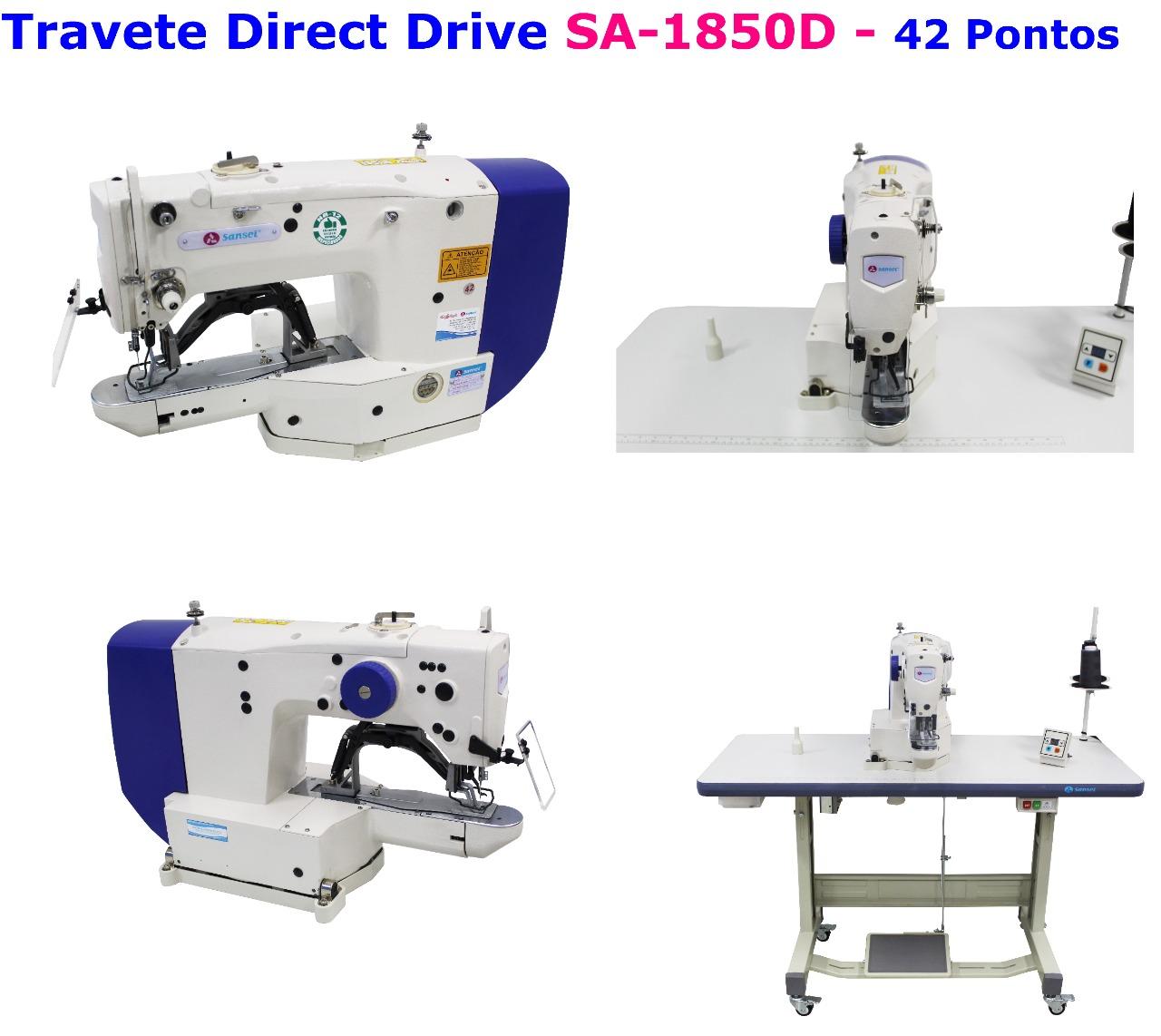 Maquina de Costura Travete SANSEI modelo SA-1850D 42 Pontos com motor Direct Drive.