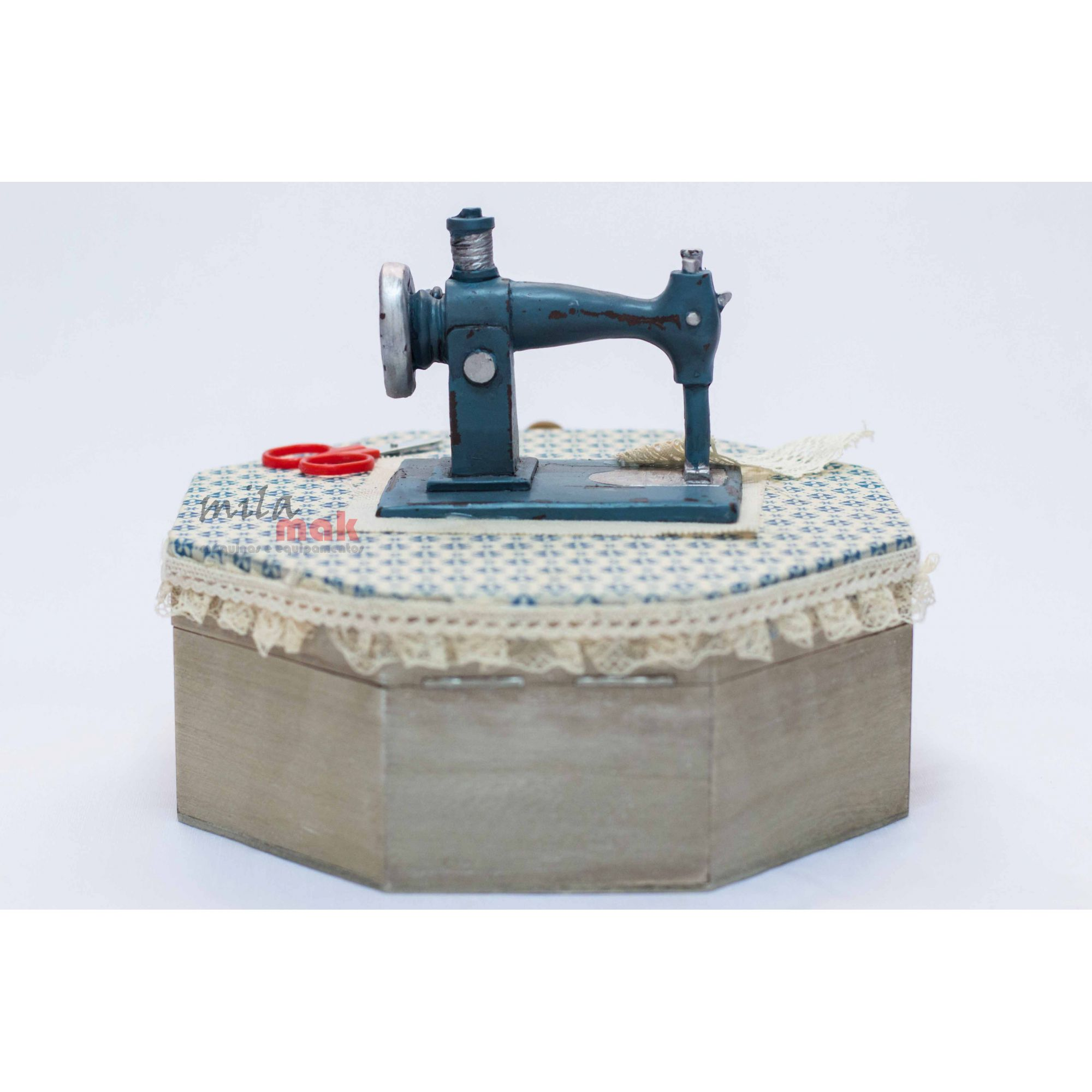 Mini Máquina De Costura Decorativa e porta objeto - Formato hexagonal