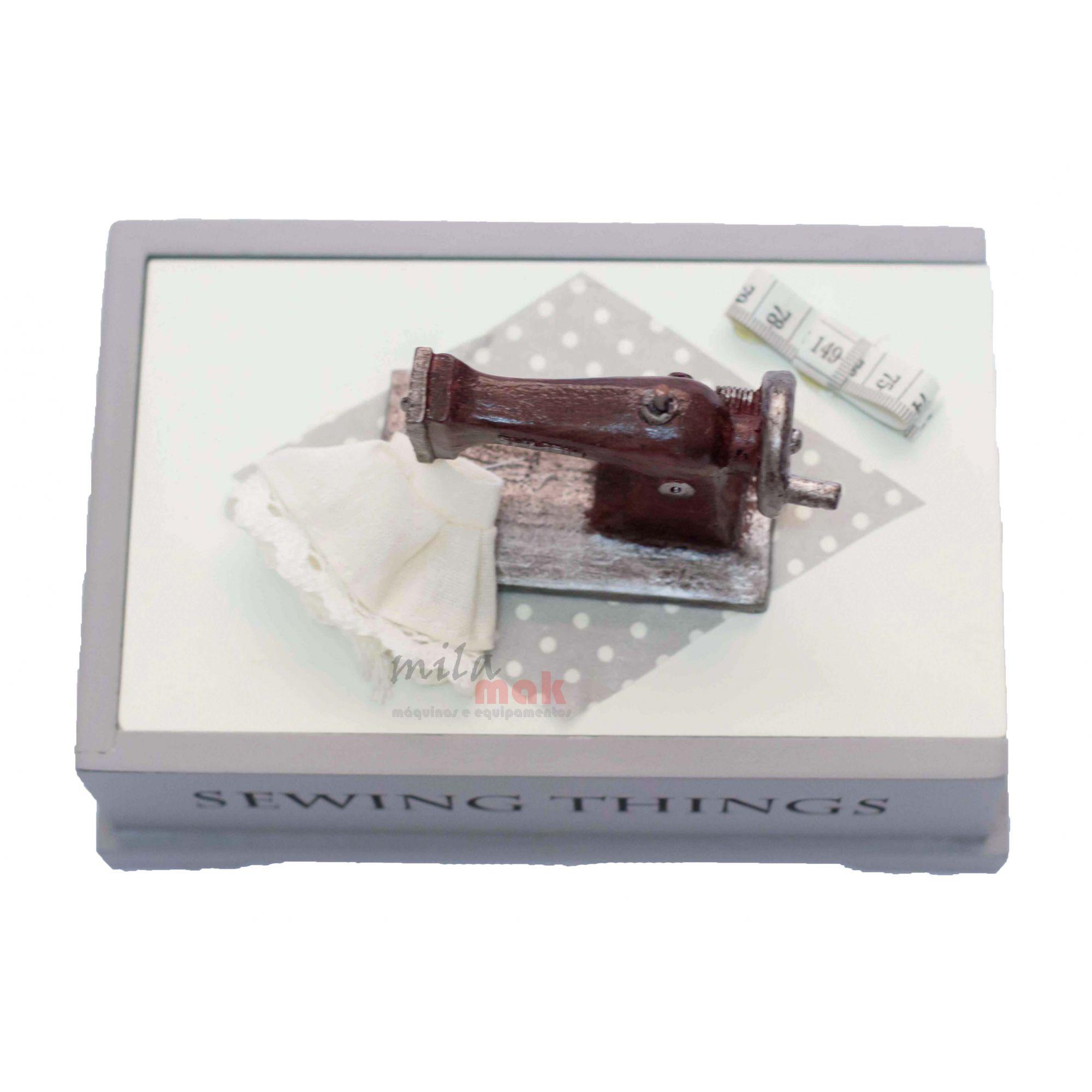 Mini Máquina De Costura Decorativa e porta objetos - com tampa deslizante