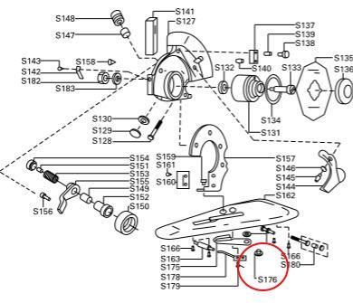 Parafuso com Porca p/ - Vídea / Lâmina Inferior para máquina de corte Disco RC100 - S-176