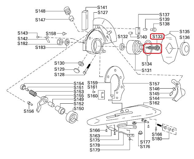 Parafuso da Engrenagem S-133 - Eixo do disco para máquina de cortar tecidos RC-100