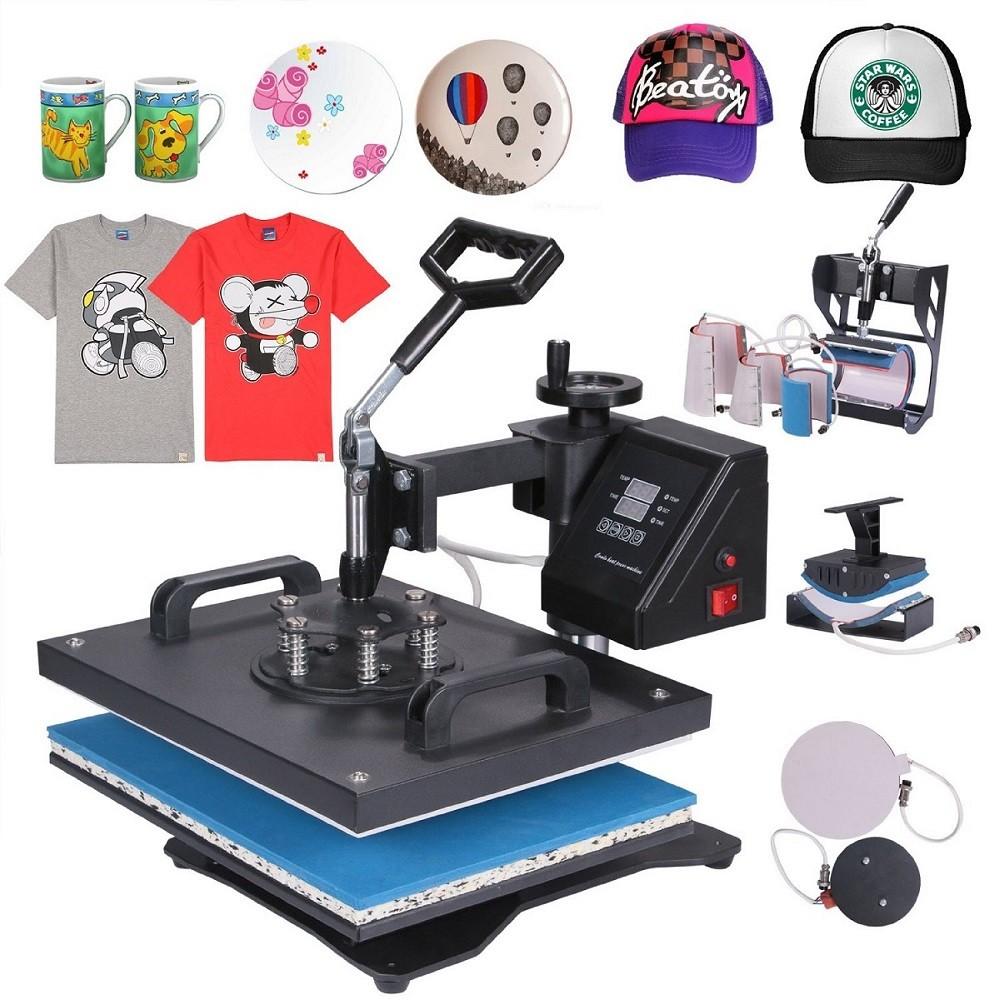 Prensa Térmica Manual 8 em 1 - Camisetas - Bones - pratos - Canecas - Azulejos e Chinelos