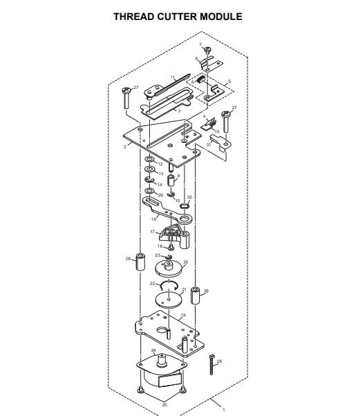 Sistema de corte da Máquina de bordar Brother PE 810L XG5250001