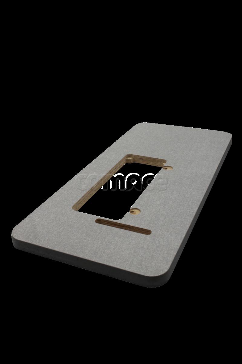 Tampo de Madeira de costura industrial - Revestimento com fórmica e Borrachas laterais. 110x50x5 cm.