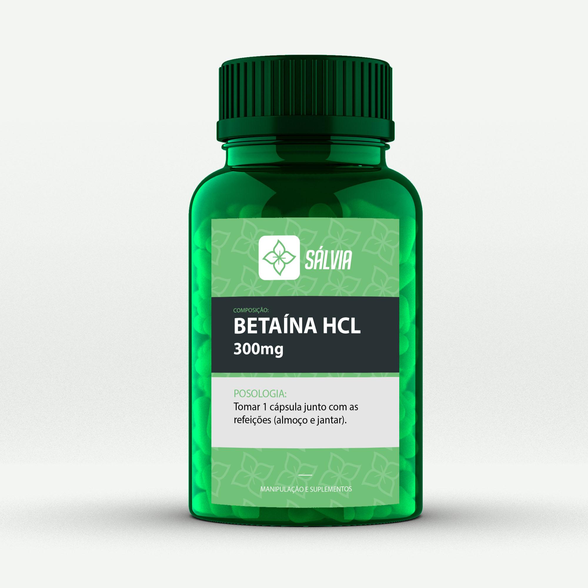 BETAÍNA HCL 300mg - Cápsulas