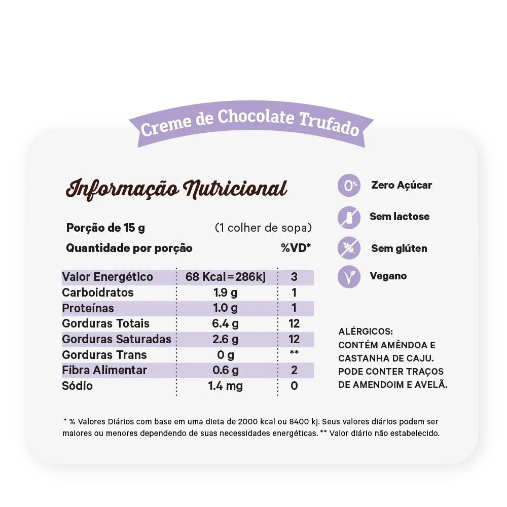 CREME DE CHOCOLATE TRUFADO E CASTANHA 450G - NUTRISSIMA