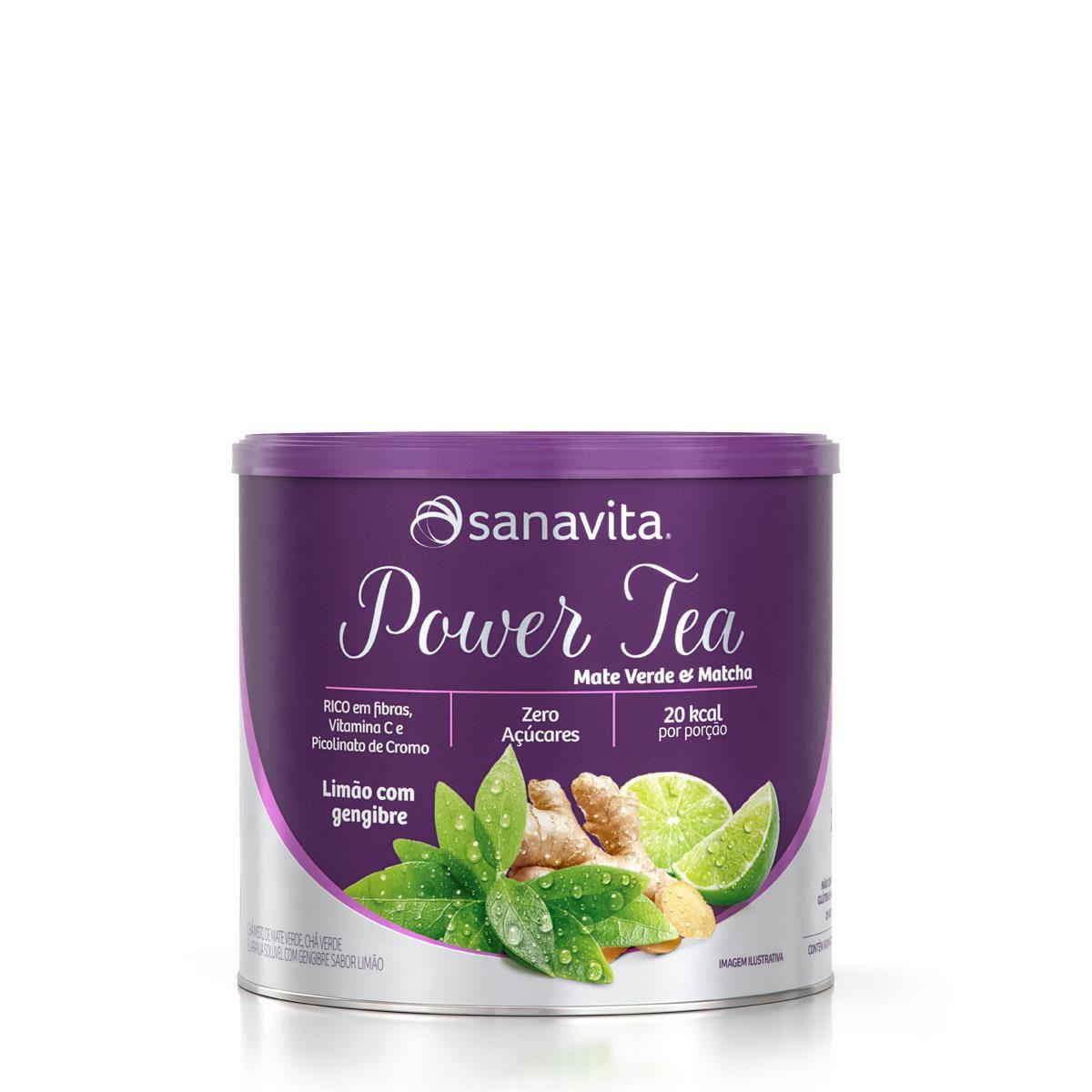 POWER TEA MATE VERDE & MATCHA LIMÃO COM GENGIBRE 200g – Sanavita