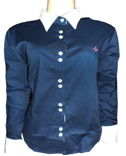 Camisa Social Dudalina Feminina ML Azul Marinho Com Gola e Punho Branco - DD2  - ACKIMPORTS