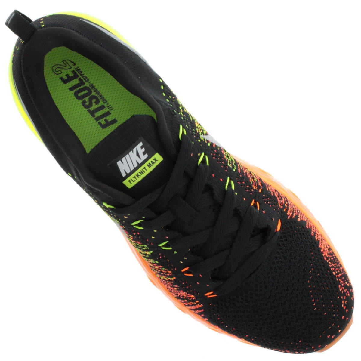 Nike Flyknit Air Max - Preto com Verde e Laranja  - ACKIMPORTS