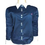 Camisa Social Dudalina Feminina ML Azul Marinho Com Gola e Punho Branco - DD2