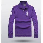 Camisa Polo Ralph Lauren Manga Longa roxa