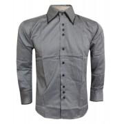 Camisa Social Armani Cinza Listrada - Ref 088