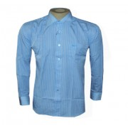Camisa Social Armani Manga Longa Azul Claro Listrada - Ref 098