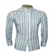 Camisa Social Armani Manga Longa Branca e Azul Listrada - Ref 009