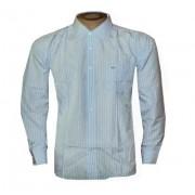 Camisa Social Lacoste Manga Longa Azul e Branca - Ref 008