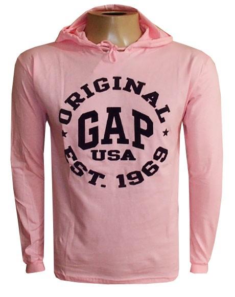 Camiseta Gap Manga Longa Rosa Claro G03  - ACKIMPORTS