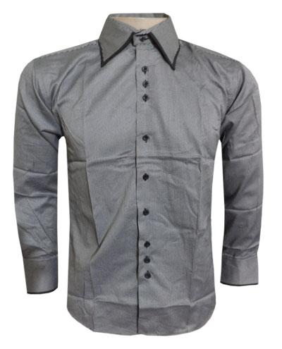 Camisa Social Armani Cinza Listrada - Ref 088  - ACKIMPORTS