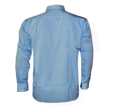 Camisa Social Armani Manga Longa Azul Claro Listrada - Ref 098  - ACKIMPORTS