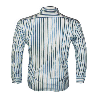 Camisa Social Armani Manga Longa Branca e Azul Listrada - Ref 009  - ACKIMPORTS