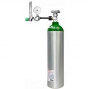 Cilindro de oxigênio de alumínio com válvula fluxometro e carga de oxigênio