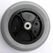 Roda dianteira Aro 6 polegadas preta c/ pneu maciço cinza c/ rolamento O PAR