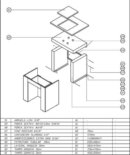 Mesa para balança anti vibratória
