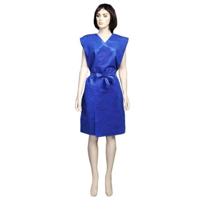 Avental descartável azul sem manga com 100 unidades