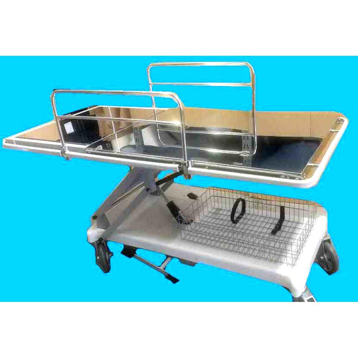 Carro maca hidráulico hospitalar em aço inox + colchonete