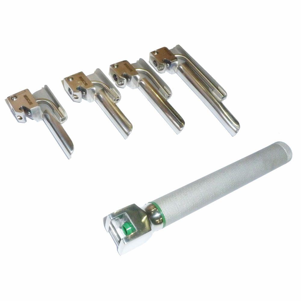 Conjunto de laringoscopio fibra ótica LED com 4 laminas retas # 00,0,1 e 2