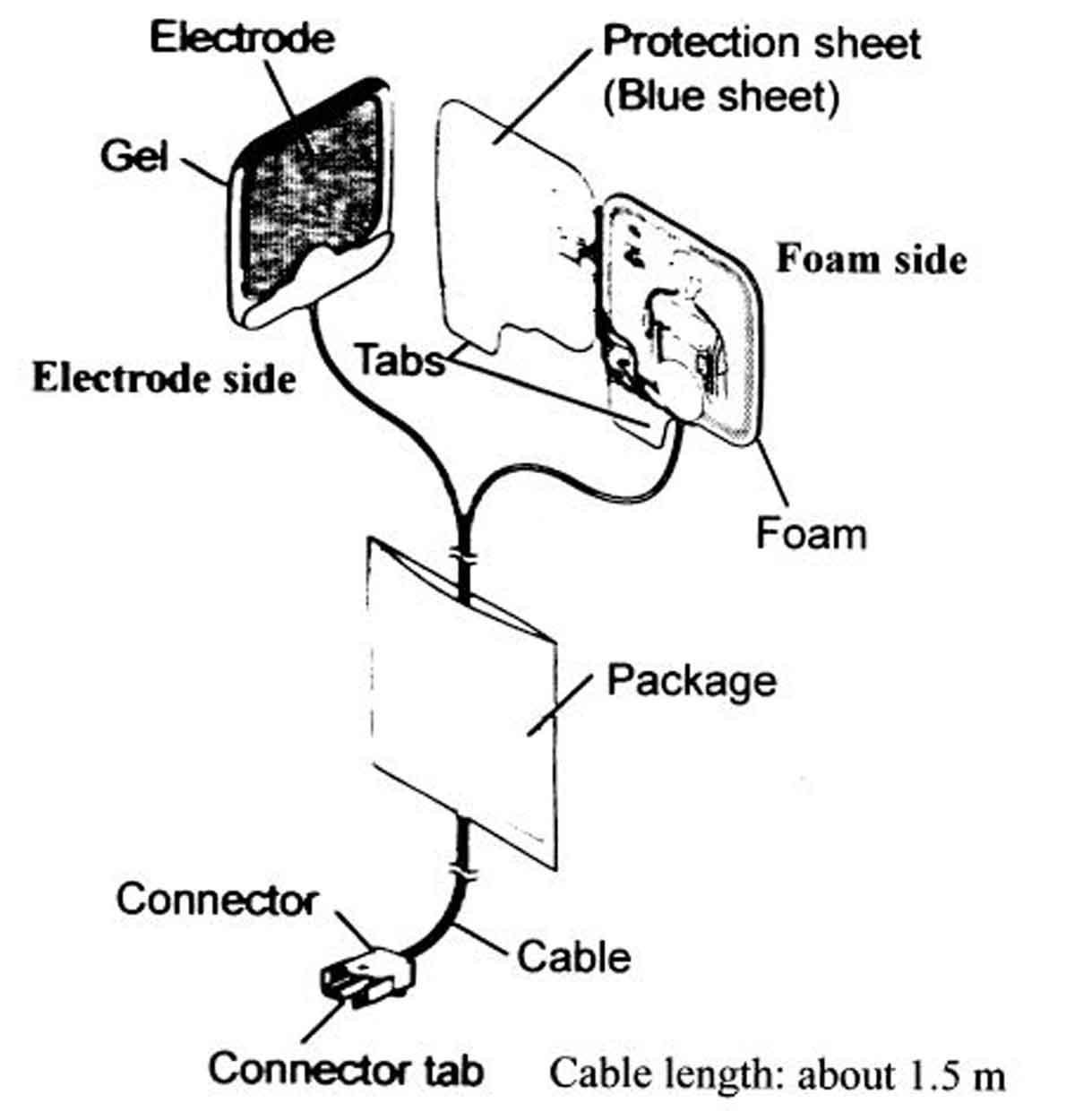 Eletrodo descartavel para desfibrilador Nihon Kohden P-740K