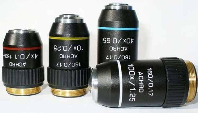 Objetiva acromática com rosca de 20 mm