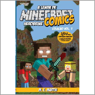 Minecraft Comics: A Lenda de Herobrine - ESCOLHA O VOLUME  - EdiCase Publicações