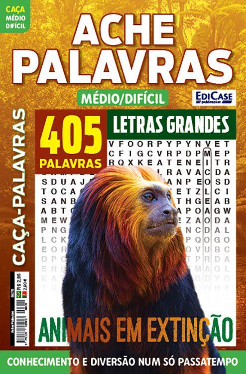 Ache Palavras Ed. 70 - Médio/Difícil - Letras Grandes - Tema: Animais em Extinção  - EdiCase Publicações