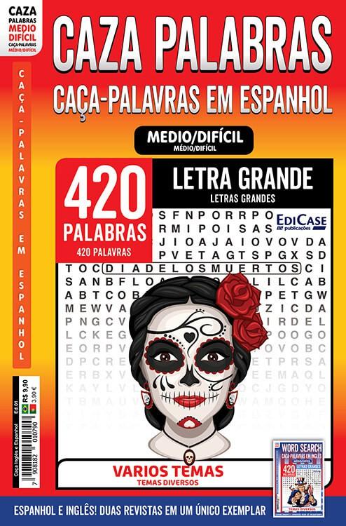 Caça Inglês e Espanhol Ed. 01 - Médio/Difícil - Letras Grandes - Temas Diversos