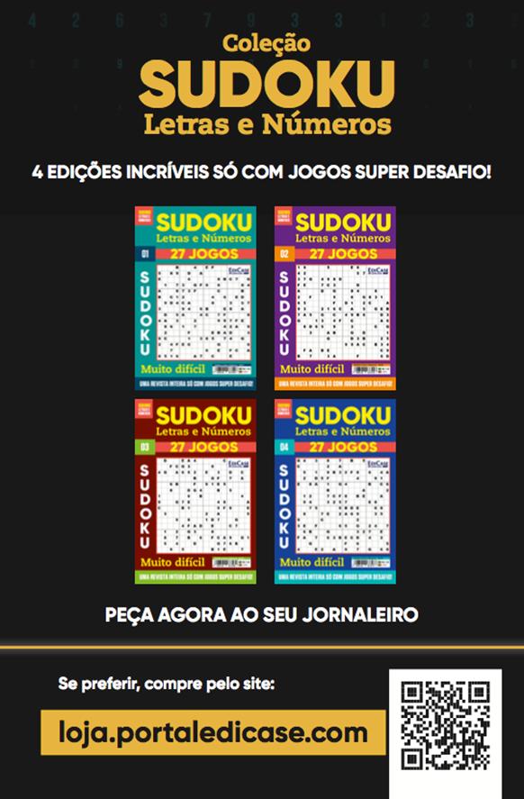 Coletânea Sudoku Letras e Números Ed.01 - MUITO DIFÍCIL - SÓ SUPER DESAFIO - 108 jogos