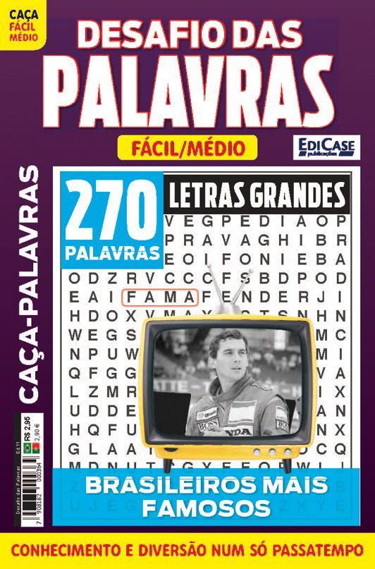 Desafio das Palavras Ed. 11 - Fácil/Médio - Letras Grandes - Tema: Brasileiros Mais Famosos  - EdiCase Publicações