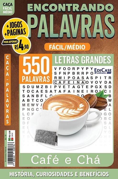 Encontrando Palavras Ed. 19 - Fácil/Médio - Café e Chá  - EdiCase Publicações