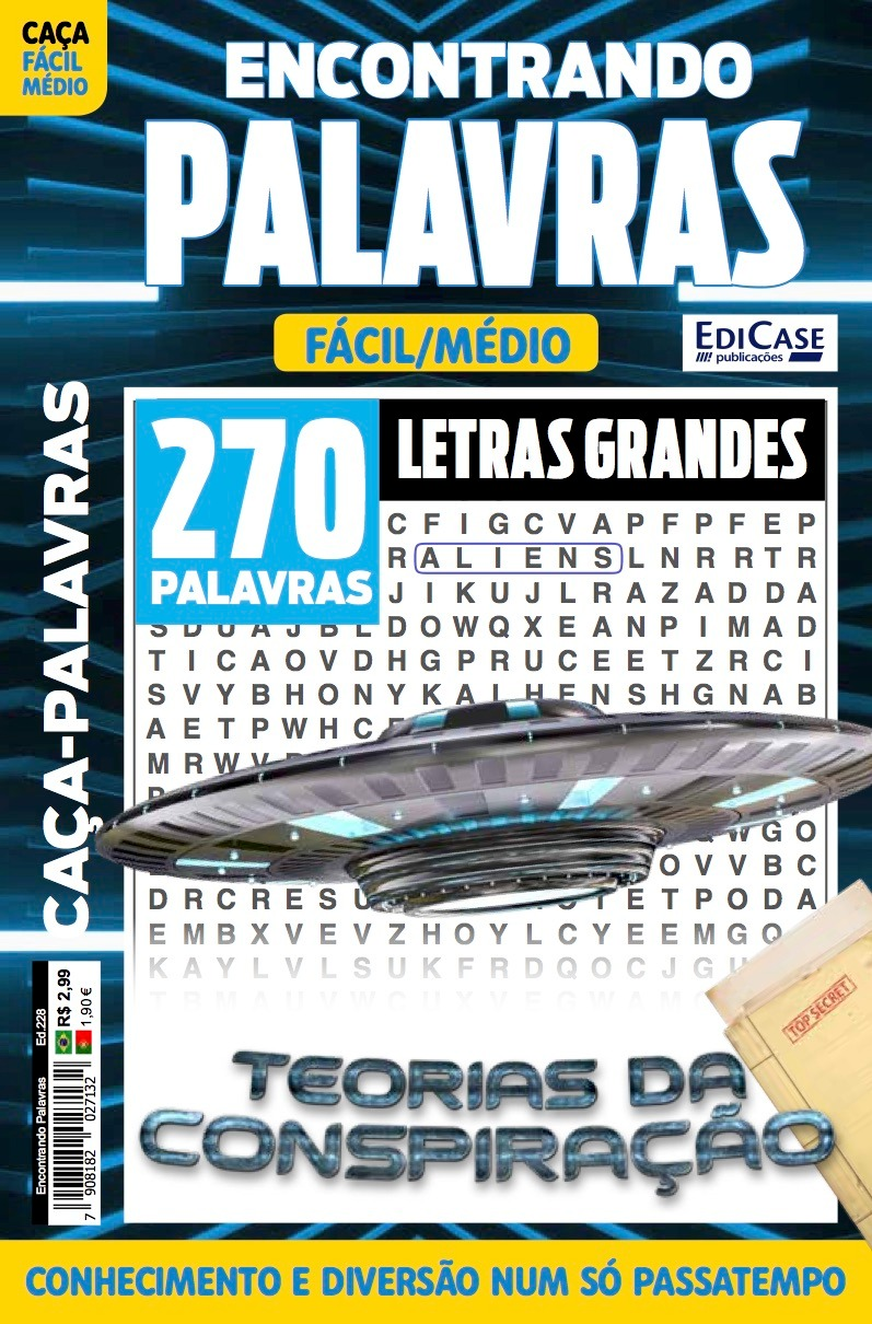 Encontrando Palavras Ed. 228 - Letras Grandes - Tema: Teorias da Conspiração