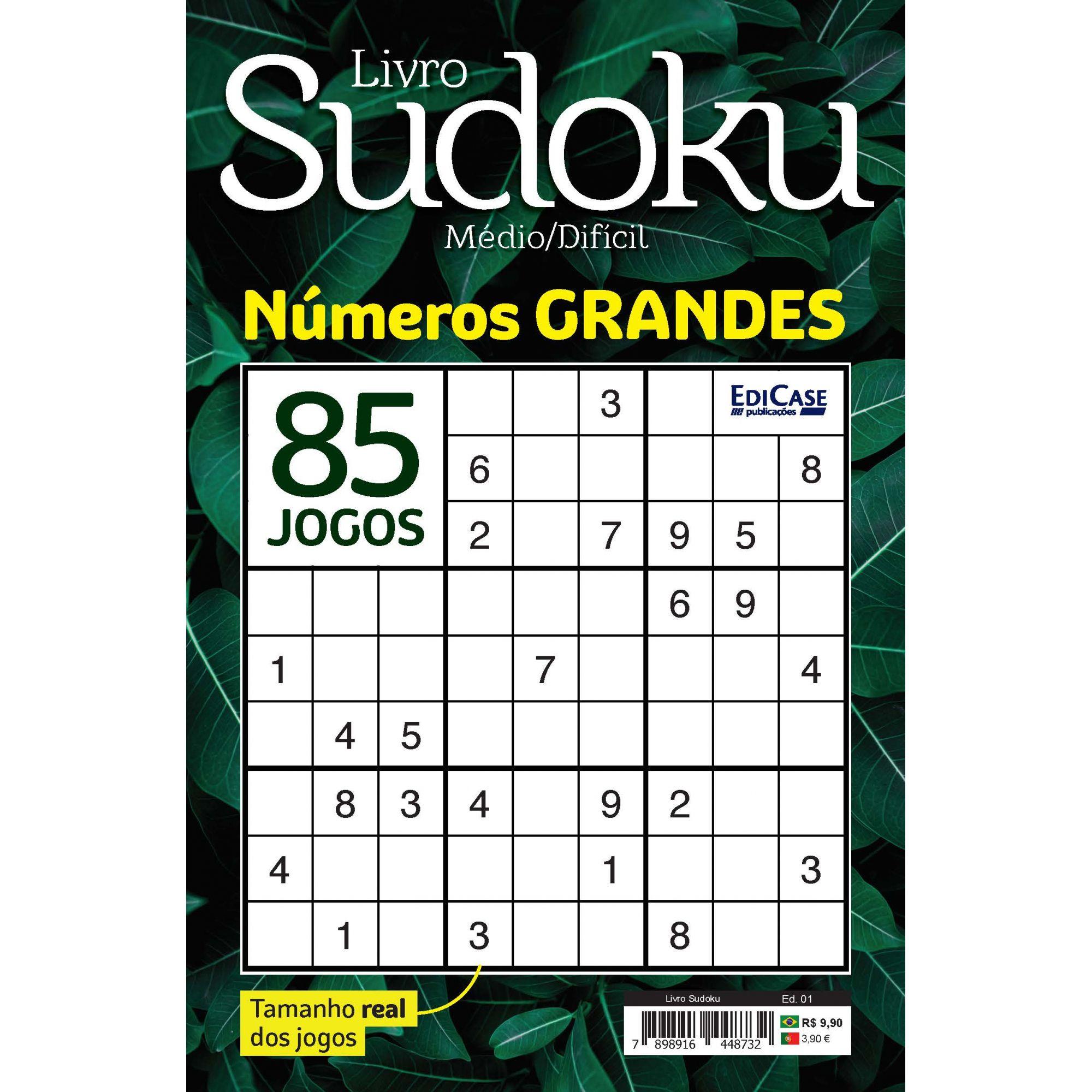 Livro Sudoku Ed. 01 - Médio/Difícil - Com Números Grandes - Só Jogos 9x9  - EdiCase Publicações